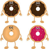 Four Donut Characters — Stock Vector