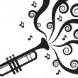 Trumpet Playing Music Silhouette  — Stock Vector