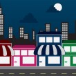 Store Fronts and Skyline Buildings at night — Stock Vector