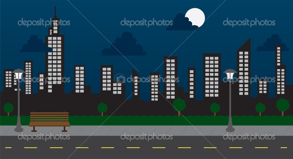 Skyline in the park with street at night — Stock Vector #12986147