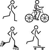 Skating Running Biking — Stock Vector