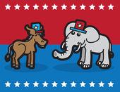 Elephant and Donkey — Stock Vector
