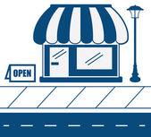 Store Front Sidewalk — Stock Vector