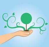 árbol de mano — Vector de stock
