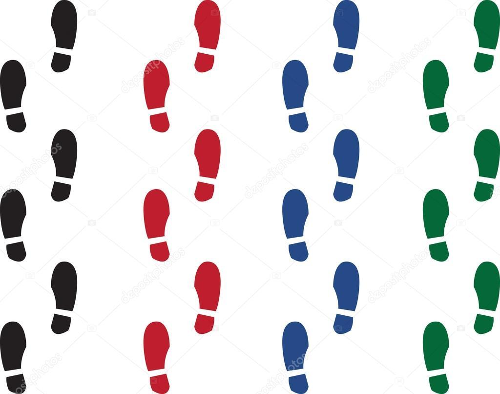 Shoe Print Colors - Stock Illustration