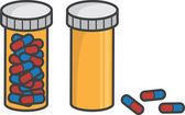 Pill Bottle Full Empty — Stock Vector