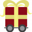 Royalty-Free Stock Vector Image: Gift on Wheels Red