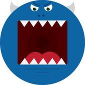 Boca do monstro azul — Vetor de Stock