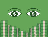 Eyeing Money Stacks — Stock Vector