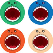 Monster Mouth Round Colors — Stock Vector