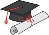 Graduation Hat and Diploma — Stock Vector