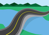 Road Over River — Stock Vector