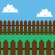 Stock Vector: Picket Fence Brown Backyard