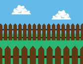 Picket Fence Brown Backyard — Stock Vector