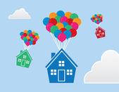 Houses Floating Balloons — Vetorial Stock