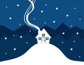 House Snow Silhouette — Stock Vector