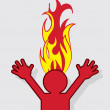 Figure Head On Fire — Stock Vector