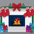 Fireplace Christmas Stockings — Stock Vector