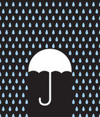 Umbrella Silhouette Downpour — Stock Vector
