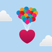 Heart Floating Balloons — Stock Vector