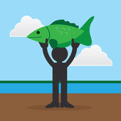 Figure Holding Large Fish — Vector de stock