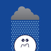 Rain On Sad Face — Stock Vector