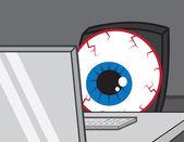 Computer Desk Eye Bloodshot — Stock Vector