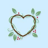 Leaf Wreath Heart — Stock Vector