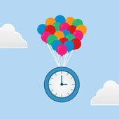 Time Floating Balloons — Stock Vector