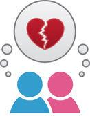 Boy Girl Thought Bubble Heart Break — Stock Vector