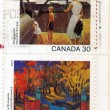 Old,used stamps from Canada - Stock Photo