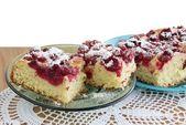 Owoc smaczny tort z wiśniami — Zdjęcie stockowe