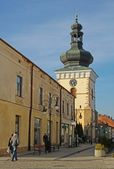 Renaissanse old belfry of parish church in Krosno — Stock Photo