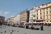 Crowdy main Market Square in Krakow A-B line — Stock Photo