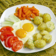 Stock Photo: Scrambled eggs with vegetable as dinner meal
