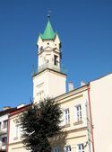 Town hall with tower in Kolaczyce near Jaslo — Stock Photo