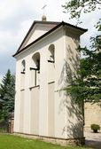 Belfry about old parish church in Jaslo — Stock Photo
