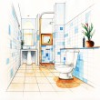 Bathroom Decorate Sketching design — Stock Photo #34555199