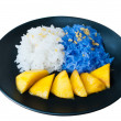 Stock Photo: Glutinous rice eat with mangoes isolate