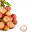 Stock Photo: Closeup of lychees on white background isolate