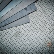 Closeup of metal sheet and metal diamond plate, texture backgrou — Stock Photo