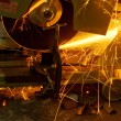 Cutting steel with grinder closeup — Stock Photo
