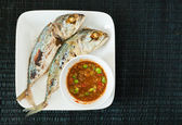 Creative food of Fried Mackerel fish,chili sauce — Stockfoto