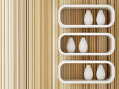 Decorated of white shelf design 3d rendering — Foto de Stock