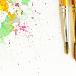 Paintbrush and water-color abstract art — Stock Photo