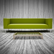 Pattern of plank wood floor and sofa set decorated — Stock Photo