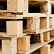 Stack of wood pallet closeup detail — Stock Photo