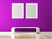 Violet wall color and white frame decorate 3d rendering — Stok fotoğraf