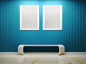 White frame and blue wall interior 3d rendering — Foto de Stock