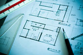 Work of interior design concept and drawing tools — Stock Photo